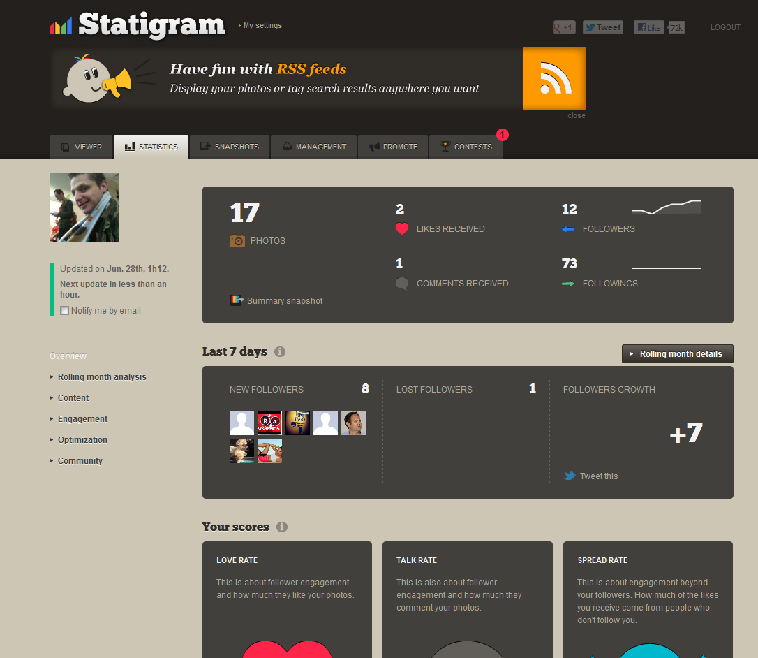 Statigram – Track your Instagram statistics « Ryan Johnson's Online